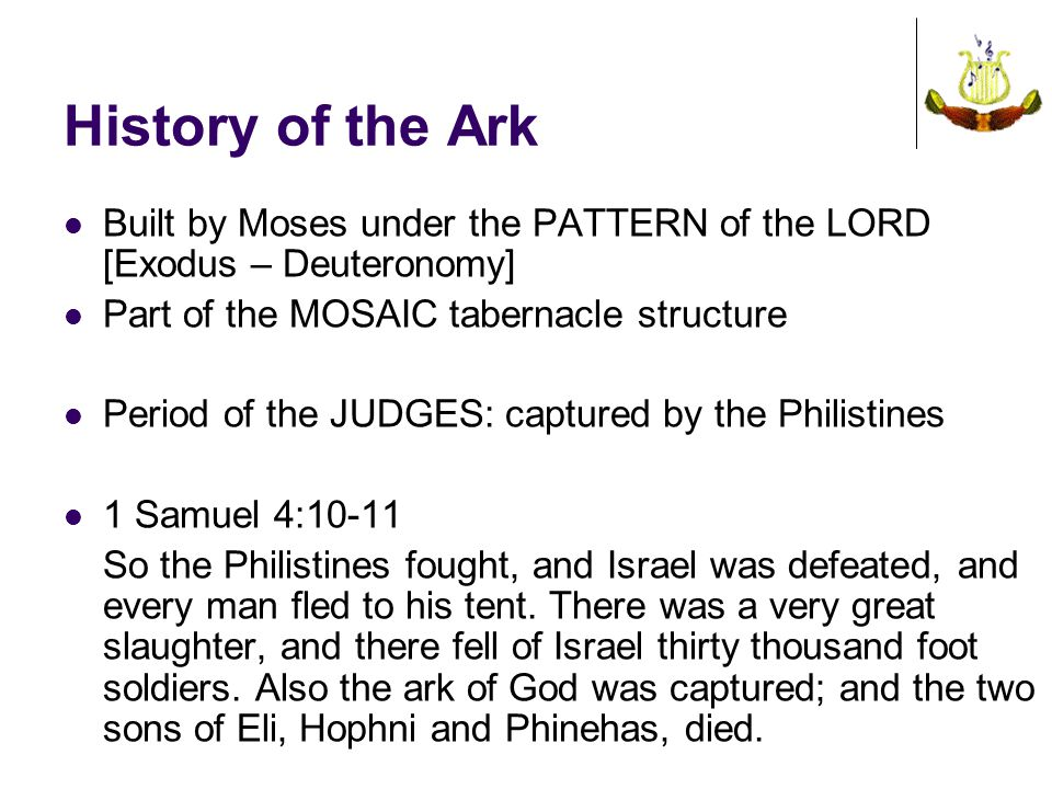 History of the Ark Built by Moses under the PATTERN of the LORD [Exodus – Deuteronomy] Part of the MOSAIC tabernacle structure.